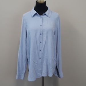 Orvis 100% silk button down blouse size Large